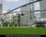 Jay Pritzker Pavilion, trellis with speakers, June 30, 2004