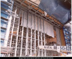 Jay Pritzker Pavilion, constructing the glass doors, ca. October 30, 2003