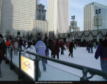 McCormick Tribune Plaza and Ice Rink, ice-skaters, January 4, 2002