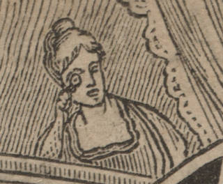 A black and white drawing depicts a woman looking through a monocle. Her hair is styled into a high bun.