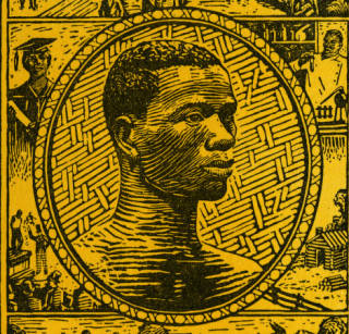 Woodcut print featuring a portrait of a Black man surrounded with images of African Americans at work, at graduation, and walking around town. Image is from Burdens Unbound, a 1930 Methodist worship booklet.