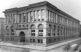 View of Michigan Avenue and Washington Street sides of the original Chicago Public Library Central Library.
